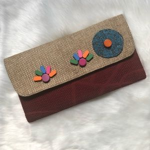 Burgundy/Tan Oversized Clutch